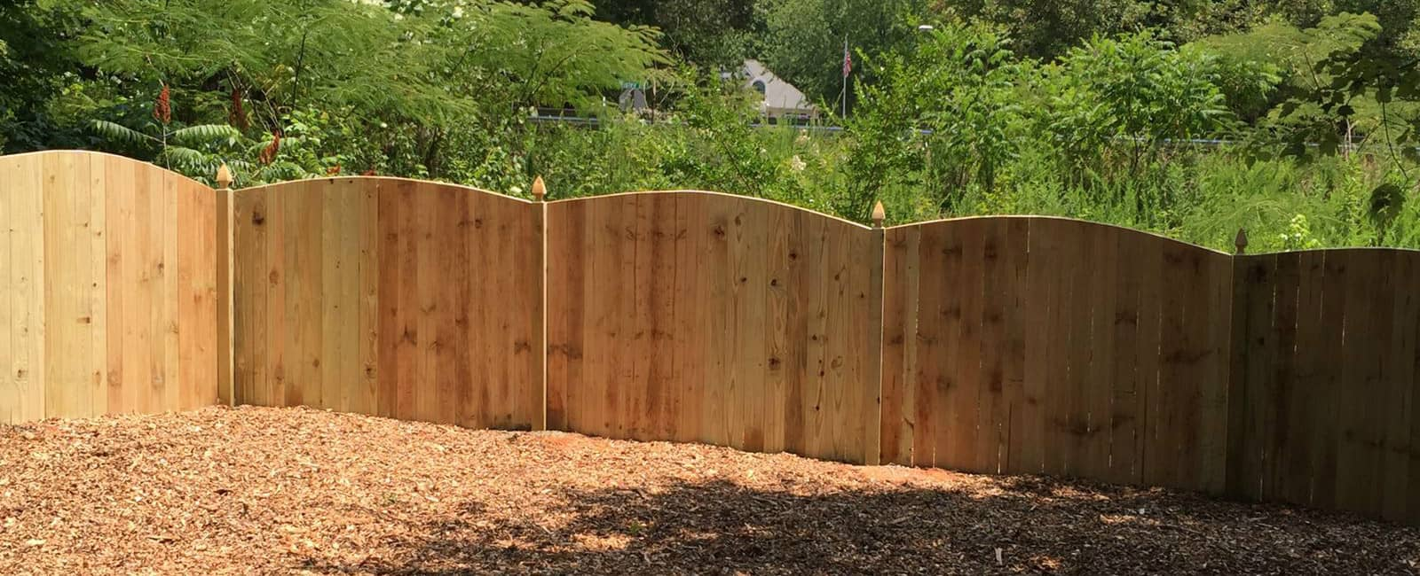 Wood arched privacy fence