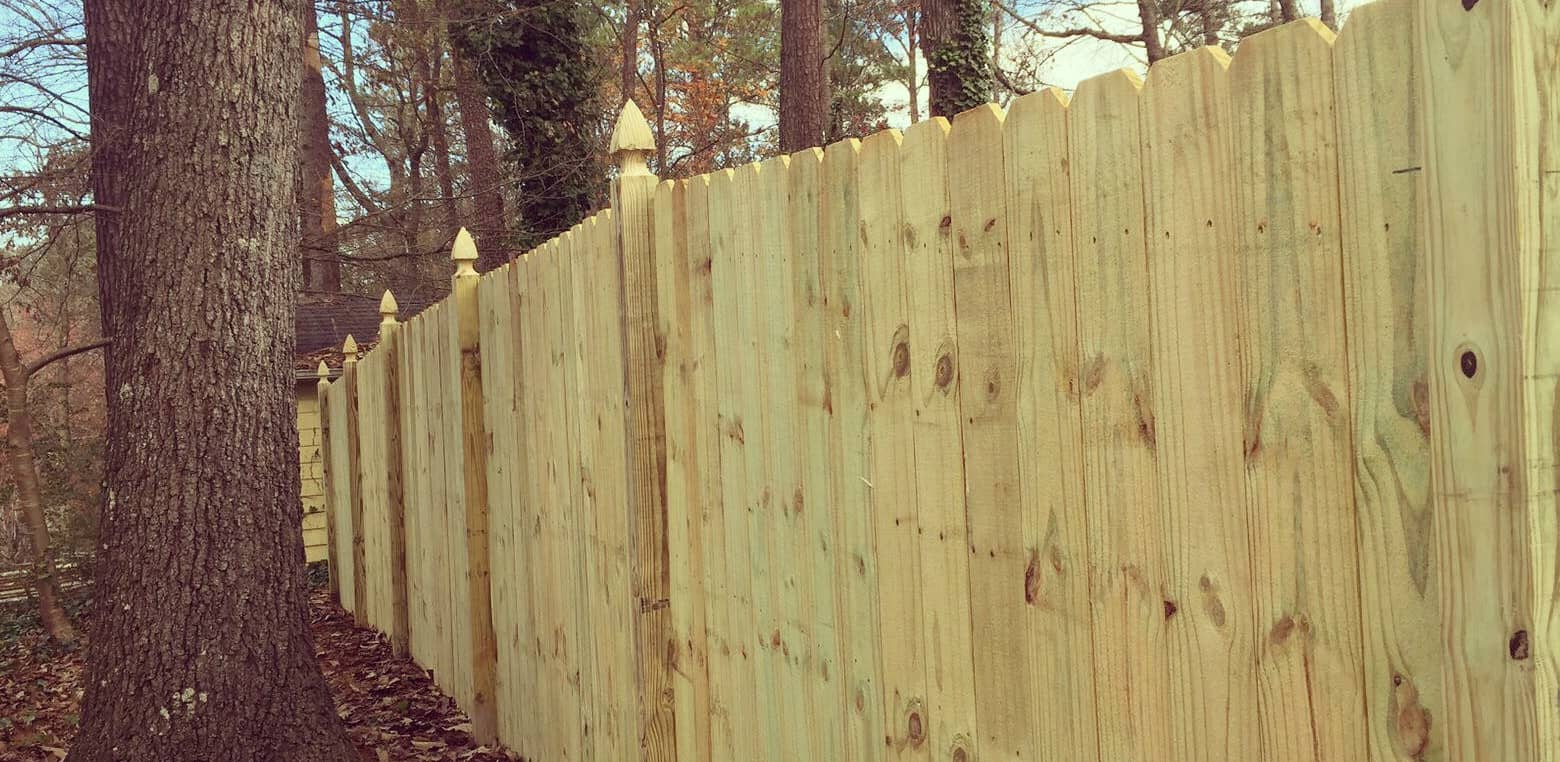 Straight Privacy Fence - Pine Wood - 6 Ft High with French Gothic Posts.jpg
